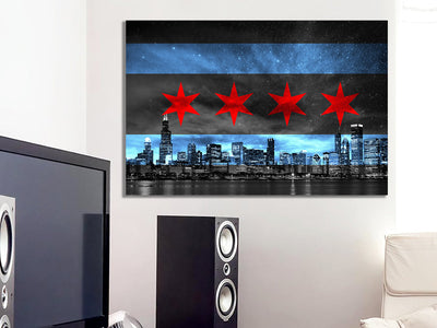 Zapwalls Canvas CHICAGO SKYLINE FLAG GLOW Canvas