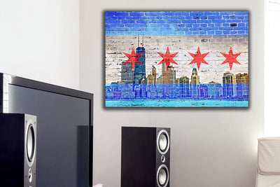 Zapwalls Canvas Chicago Skyline Light Blue Canvas