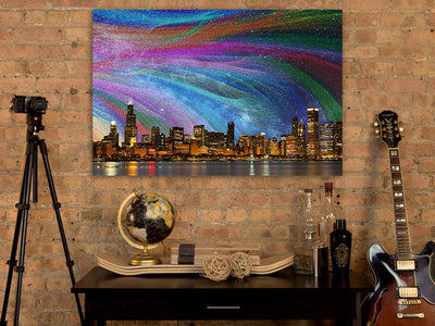 Zapwalls Canvas Color Abstract Chicago Skyline Canvas