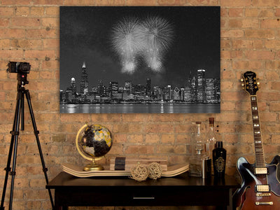 Zapwalls Canvas Fireworks Chicago Black & White Canvas