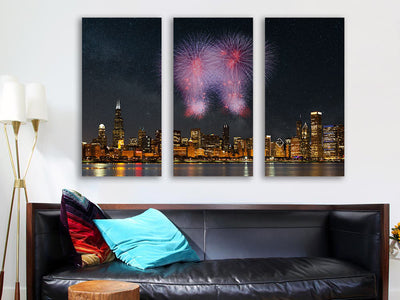 Zapwalls Canvas Fireworks Chicago Skyline Wall Graphic Canvas