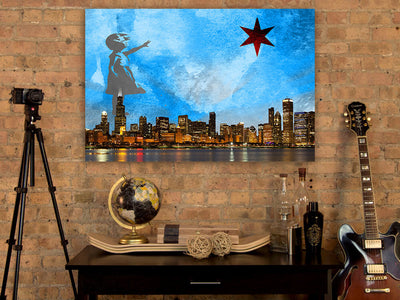 Zapwalls Canvas Girl With The Star Chicago Canvas