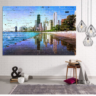 Zapwalls Canvas Graffiti Chicago Refection Skyline Canvas