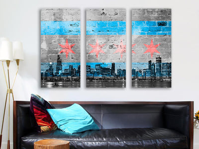 Zapwalls Canvas Graffiti Chicago Skyline Flag Black & White Canvas