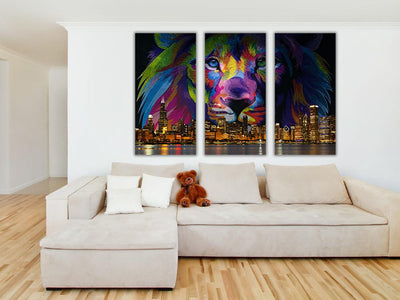 Zapwalls Canvas Lion Chicago Skyline Canvas