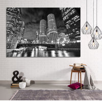 Zapwalls Canvas Marina Towers Black & White Chicago Canvas