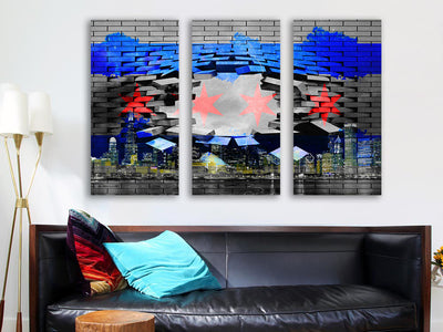 Zapwalls Canvas Modern Breaking Chicago Flag Skyline Wall Graphic Canvas