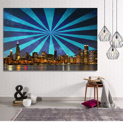 Zapwalls Canvas Modern Crazy Abstract Chicago Skyline Canvas