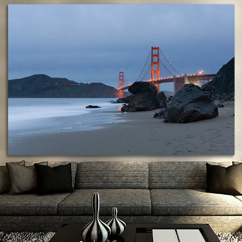 Zapwalls Canvas San Francisco Beach Cloudy Golden Gate Bridge Canvas