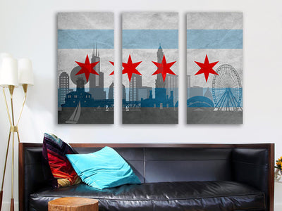 Zapwalls Canvas Silhouette Chicago Flag Canvas