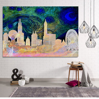 Zapwalls Canvas Starry Chicago Abstract Silhouette Canvas