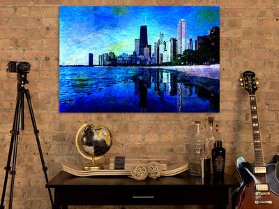 Zapwalls Canvas Starry Chicago Abstract Watercolor Canvas