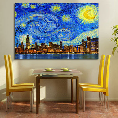 Zapwalls Canvas Starry Night Chicago Skyline Canvas