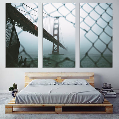 Zapwalls Canvas Through The Fence Golden Gate Bridge San Francisco Canvas