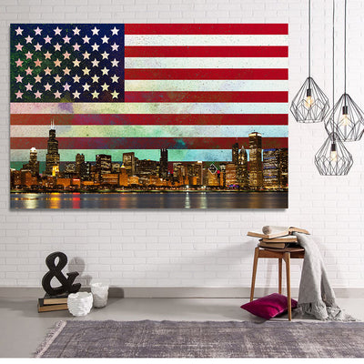 Zapwalls Canvas USA Abstract Glow Chicago Canvas