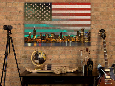 Zapwalls Canvas USA Flag Chicago Skyline Abstract Canvas