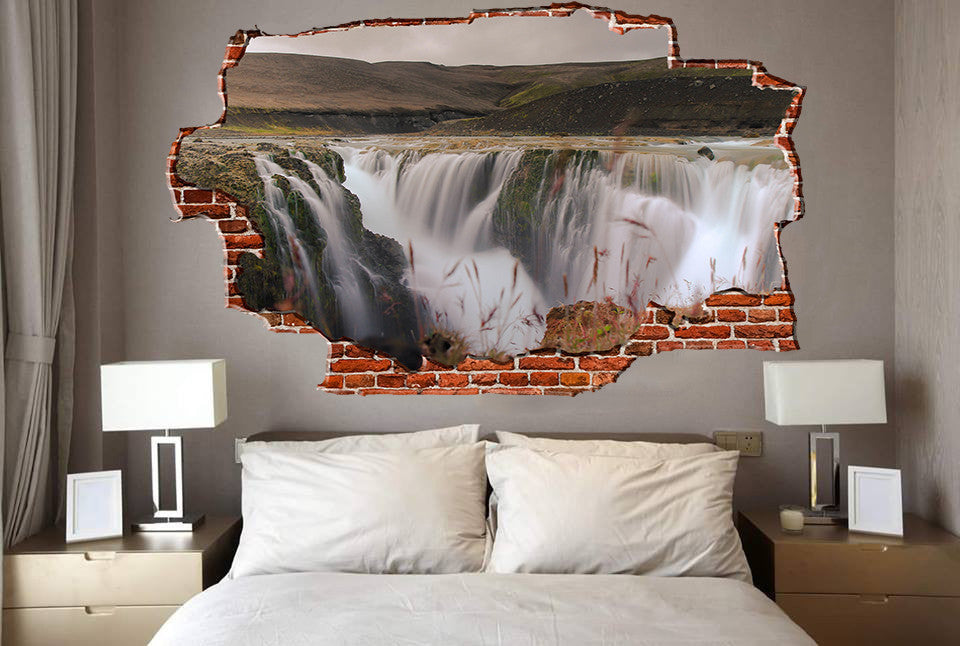 Zapwalls Decals Above Streaming Water Falls Breaking wall Nature