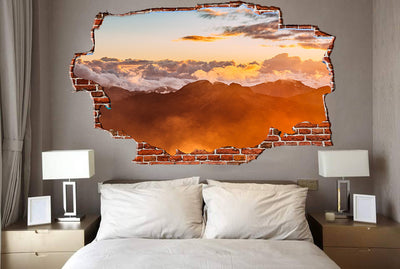 Zapwalls Decals Above the Mountain Orange Cloudy Sky Breaking wall Nature