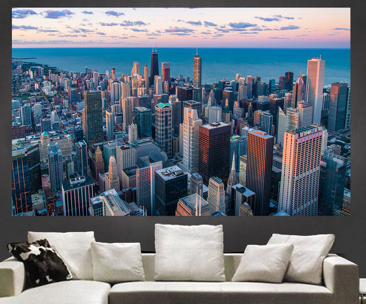 Zapwalls Decals Amazing Arial Chicago Skyline