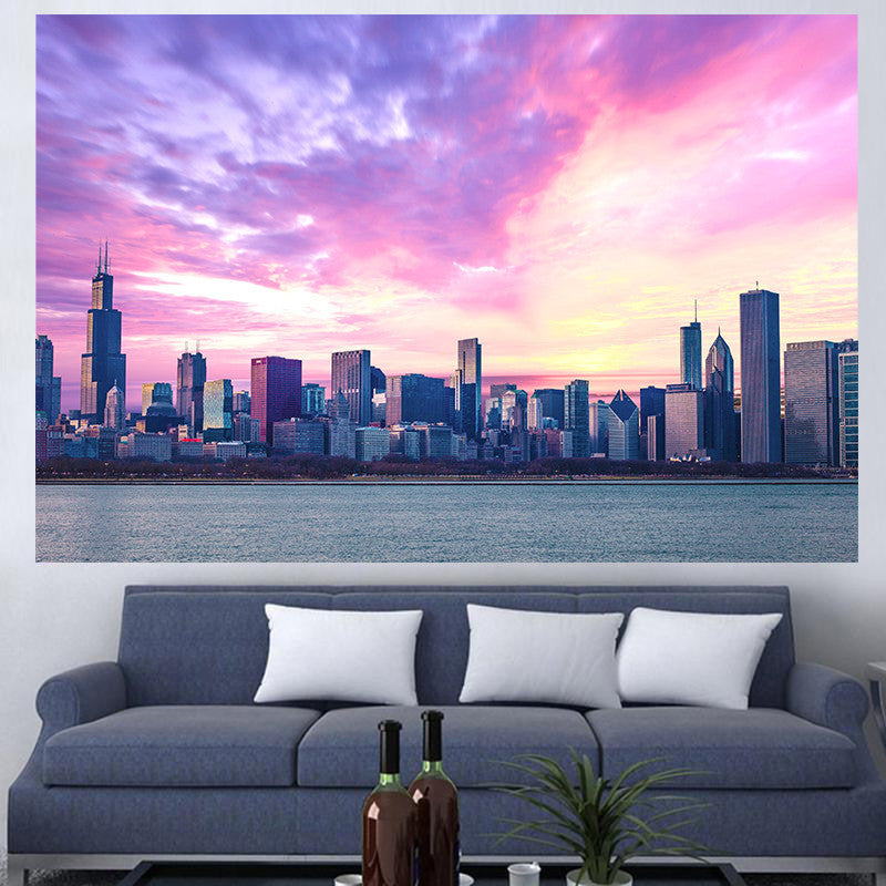 Zapwalls Decals Amazing Chicago Cloudy Skyline