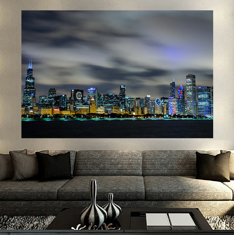 Zapwalls Decals Amazing Chicago Skyline Blue Glow