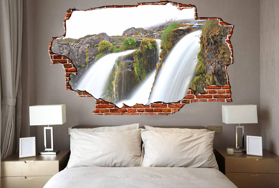Zapwalls Decals Amazing Running Waterfalls Action Shot Breaking wall Nature