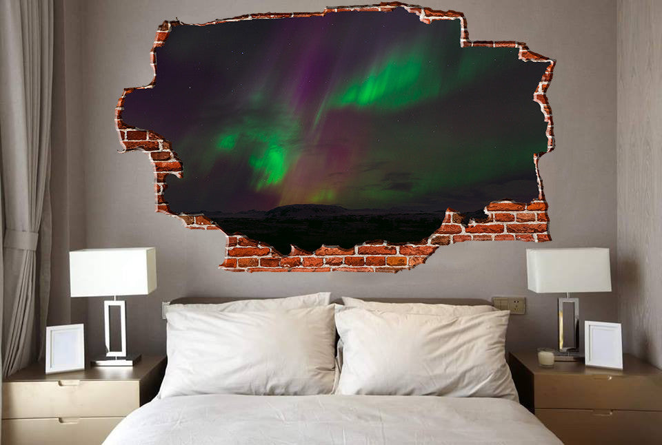 Zapwalls Decals Auroa Green & Red Lights Breaking wall Nature