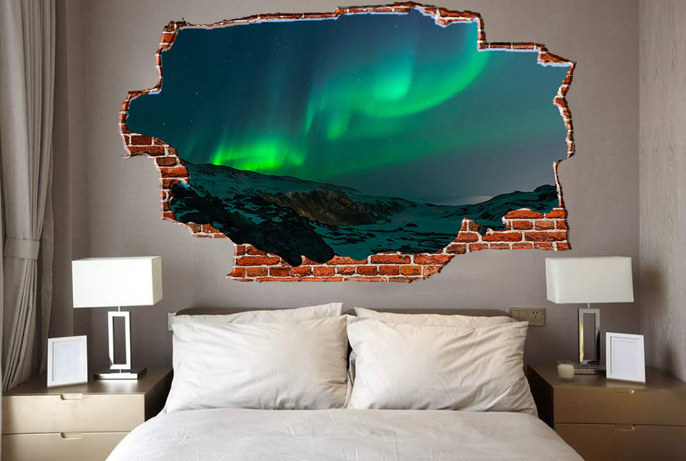 Zapwalls Decals Auroa Green Sky Mountainside Breaking wall Nature