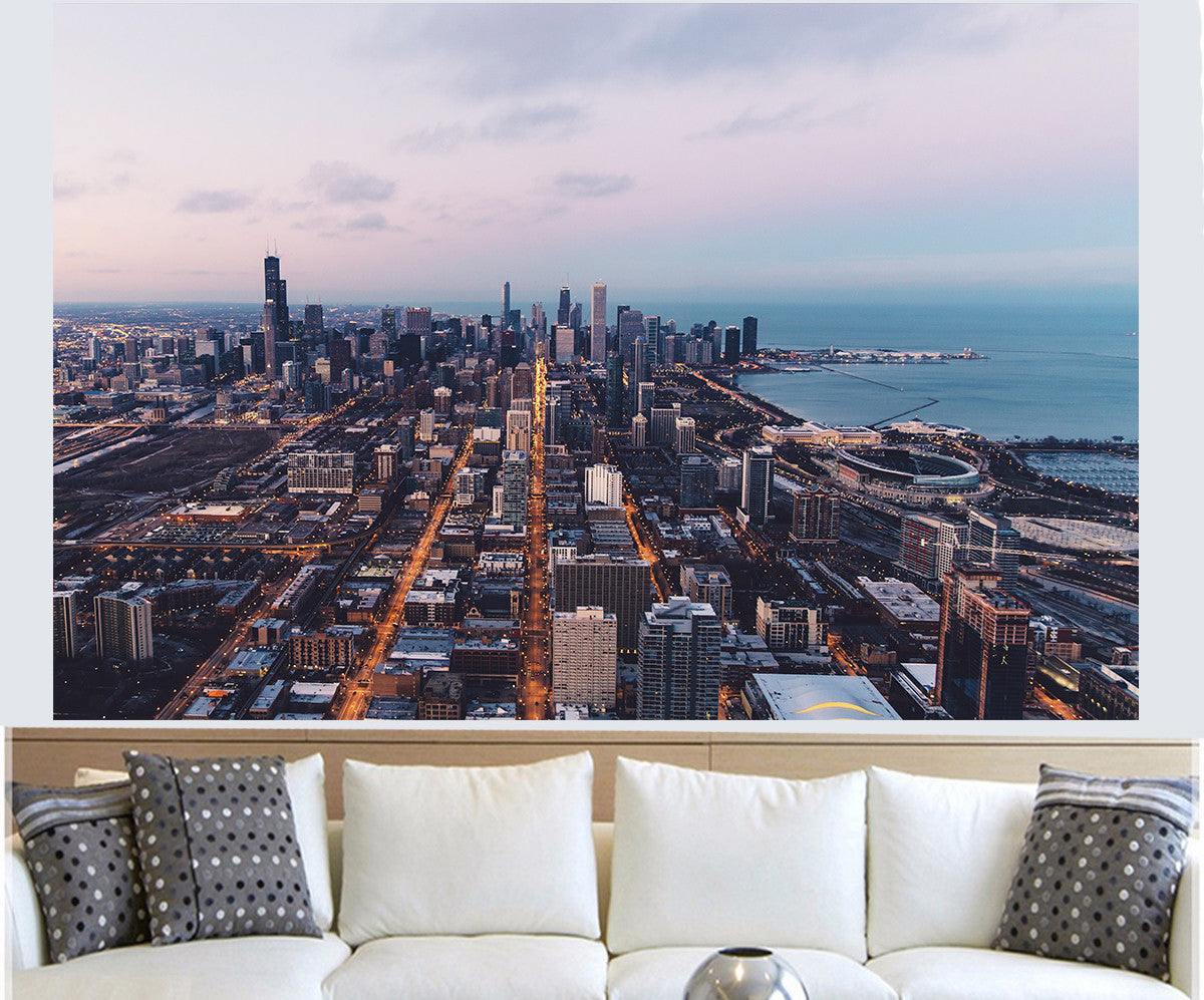 Zapwalls Decals Beautiful Chicago From Above Skyline