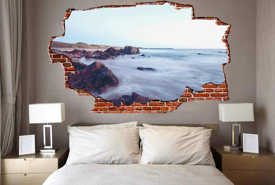 Zapwalls Decals Beautiful Mystic Water Coast Breaking wall Nature