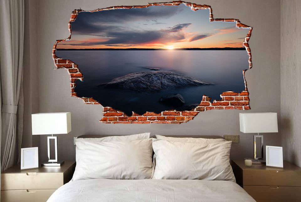 Zapwalls Decals Beautiful Sunset Lakeside Breaking wall Nature