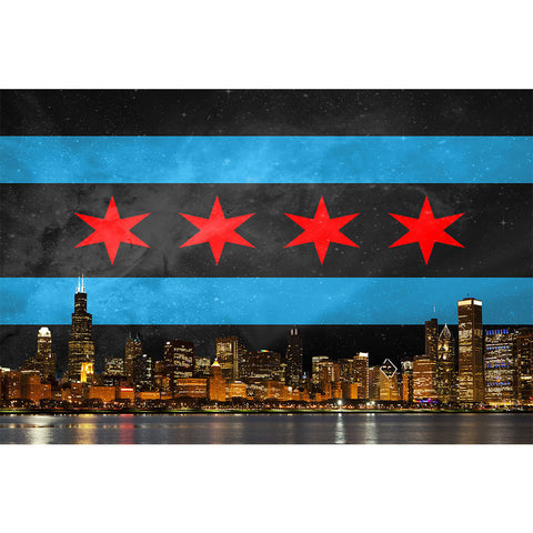 Zapwalls Decals Black Chicago Flag Skyline