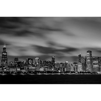 Zapwalls Decals Black & White Amazing Chicago Skyline Wall Graphic
