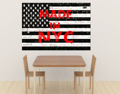 Zapwalls Decals Black & White American Flag Made In New York