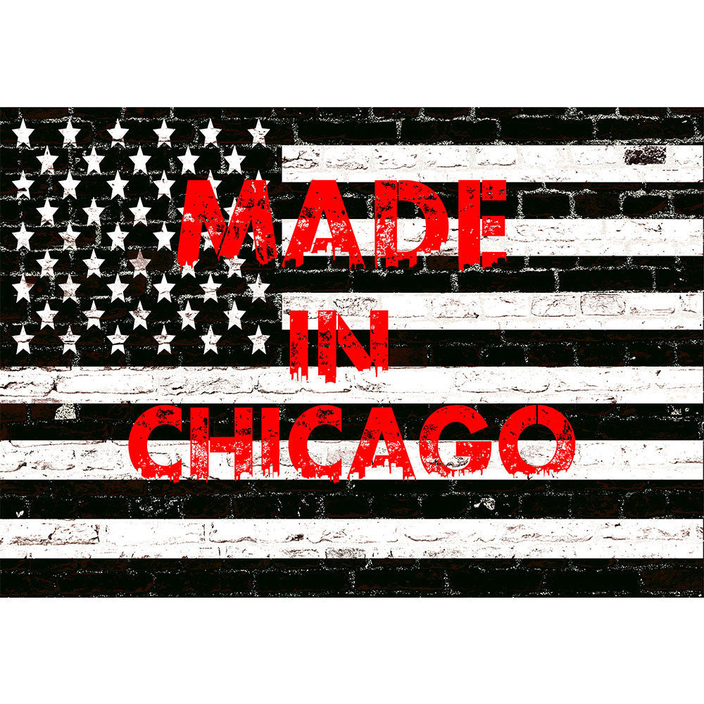 Zapwalls Decals Black & White American Made In Chicago Flag