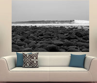 Zapwalls Decals Black & White Rocks Surfer
