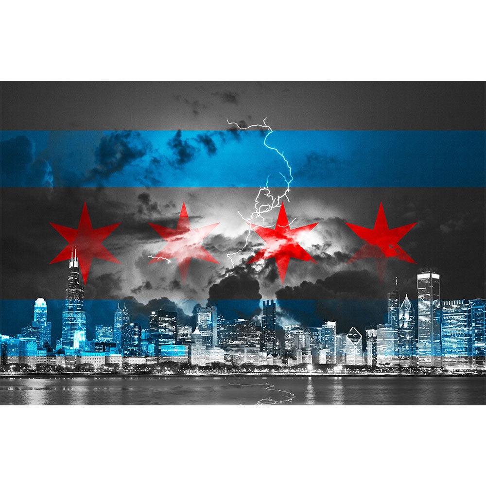 Zapwalls Decals Black & White Stormy Chicago Flag Skyline Wall Graphic