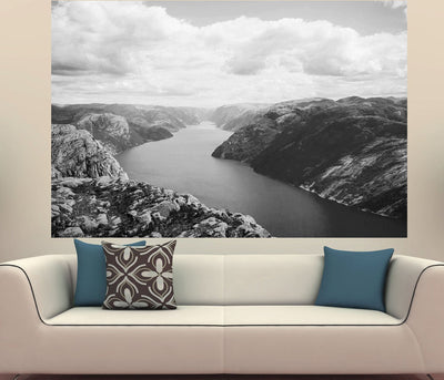 Zapwalls Decals Blue River Canyon Hills Black & White Photography