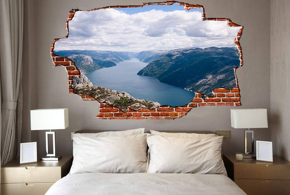 Zapwalls Decals Blue River Canyon Hills Breaking wall Nature