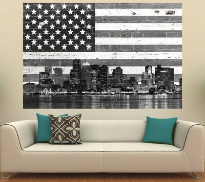 Zapwalls Decals Boston American Flag Street