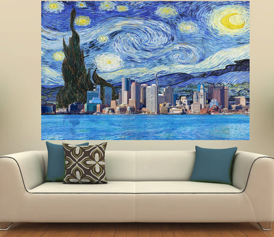 Zapwalls Decals Boston Starry Night Skyline