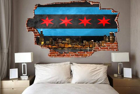 Zapwalls Decals Breaking Wall Chicago Black Flag Skyline Wall Graphic