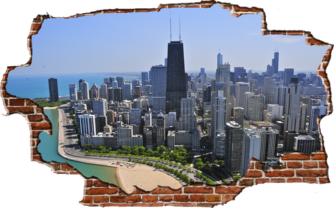 Zapwalls Decals Breaking Wall Chicago Skyline Color