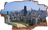Image of Zapwalls Decals Breaking Wall Chicago Skyline Color