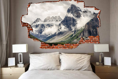 Zapwalls Decals Breaking Wall Cloudy Mountain