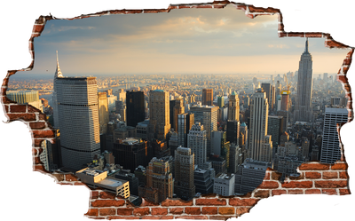 Zapwalls Decals Breaking Wall New York City Skyline