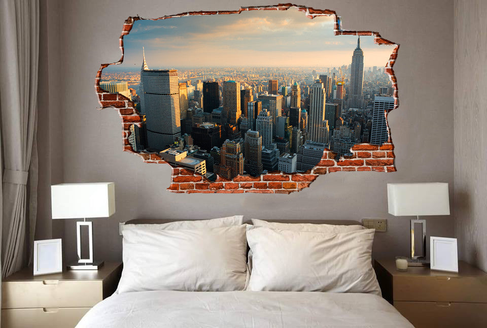 Zapwalls Decals Breaking Wall New York City Skyline Part 38
