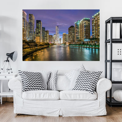 Zapwalls Decals Bright Chicago River Skyline