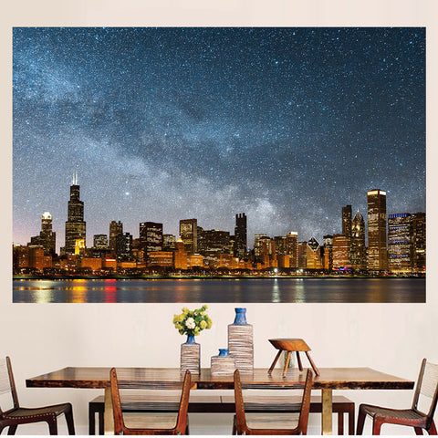 Zapwalls Decals Bright Chicago Skyline Stars Wall Graphic