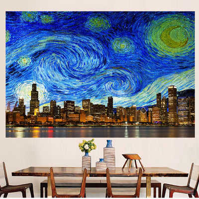 Zapwalls Decals Bright Starry Chicago Skyline Stars Wall Graphic
